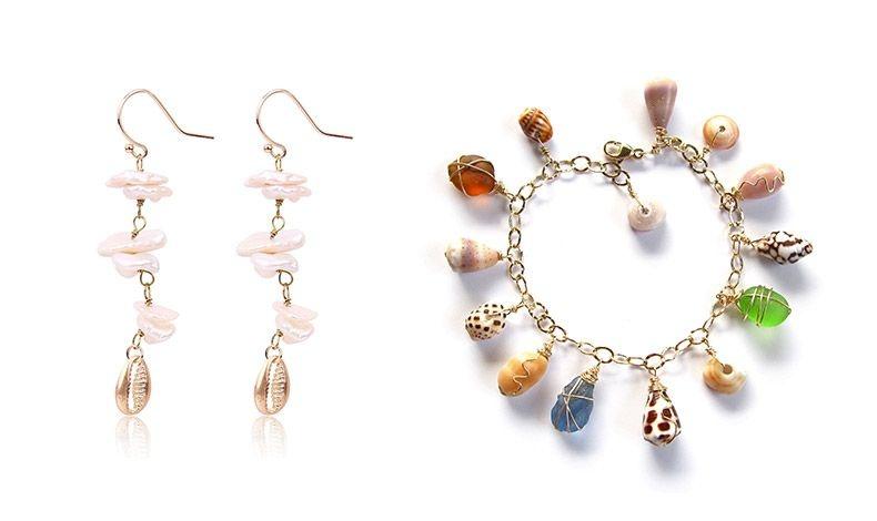 Τα κοχύλια σε μακριά σκουλαρίκια ή κολιέ γίνονται και ακριβά, πολύτιμα κοσμήματα