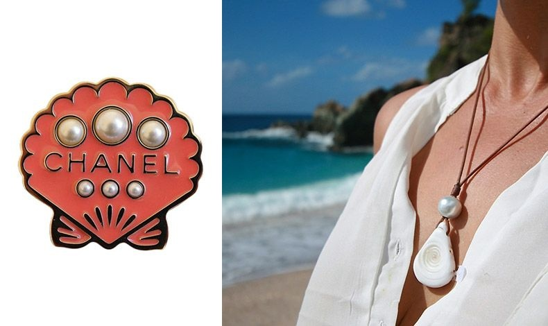 Καρφίτσα στο σχήμα αχιβάδας από τη συλλογή Cuba Cruise 2107, Chanel // Τα εν λόγω κοσμήματα ταιριάζουν εξαιρετικά με ένα λευκό πουκάμισο ή λευκό τοπ