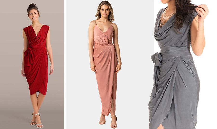 Τα ντραπέ φορέματα σε κάθε μήκος αλλά και οι ντραπέ μπλούζες «προσθέτουν» όγκο σε έναν λεπτό κορμό