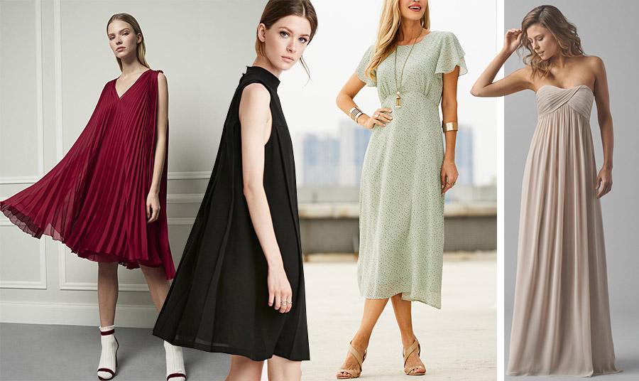 Τα φορέματα σε γραμμή trapeze ή αμπίρ είναι η έξυπνη επιλογή για να καλύψουμε την κοιλίτσα μας…