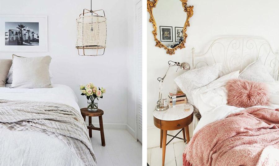 Τα σκαμπό ή τα χαμηλά τραπεζάκια μπορούν να δώσουν χαρακτήρα στο υπνοδωμάτιο. Ένα πολύ απλό σκαμπό με ένα βάζο με λουλούδια σε μία μίνιμαλ κρεβατοκάμαρα ή ένα χαμηλό τραπεζάκι με μάρμαρο που δένει με έναν vintage καθρέφτη για ένα ρομαντικό αποτέλεσμα