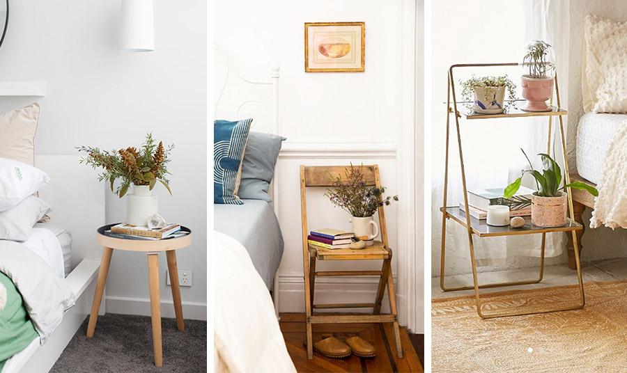 Διαφορετικές ιδέες για το κομοδίνο σας: Ένα σκαμπό, μία παλιά καρέκλα ή μία χαμηλή ραφιέρα από μέταλλο και γυαλί