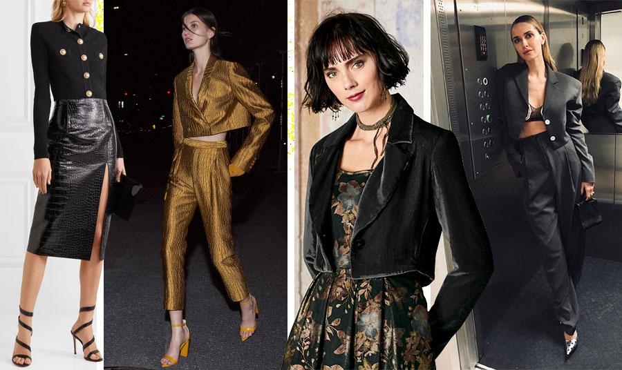 Για βραδινές εμφανίσεις! Μαύρο με χρυσά κουμπιά και μαύρη κροκό φούστα, Balmain // Χρυσαφί αστραφτερό κοστούμι, Sally Lapointe // Βελούδινο συνδυασμένο με μπροκάρ φόρεμα // Σέξι κοστούμι σατέν με μπουστιέ