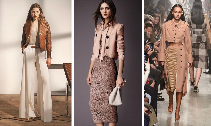Γήινα χρώματα και κροκό δερμάτινο κοντό σακάκι, Ralph Lauren // Ρομαντικό στιλ με παστέλ αποχρώσεις. Το κοντό σακάκι φορεμένο πάνω από δαντελένιο φόρεμα, Burberry // Παστέλ γήινα και σακάκι που θυμίζει στρατιωτικό στιλ σε θηλυκή εκδοχή, Rokh