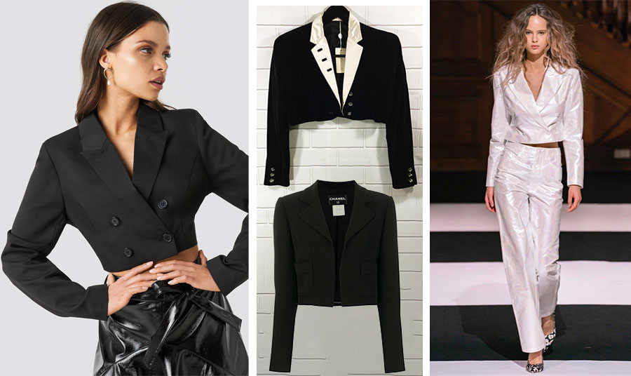 Σταυρωτό και σε ανδρόγυνη γραμμή συνδυασμένο με δέρμα, Chloé // Μαύρο με λευκά πέτα, Versace // Κλασικό κοντό σακάκι από μετάξι, χωρίς κούμπωμα, Chanel // Λαμπερό βραδινό κοστούμι σε λευκό // Rotate