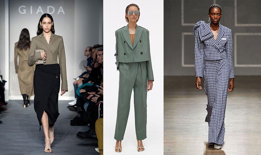 Αυστηρή γραμμή για το κοντό σακάκι με ασύμμετρη φούστα, Giada //Κοντό σταυρωτό σακάκι με φαρδιά γραμμή και τετραγωνισμένους ώμους, Helmut Lang // Κοστούμι με φαρδύ παντελόνι και κοντό σακάκι στολισμένο με τεράστιο φιόγκο, Henessy