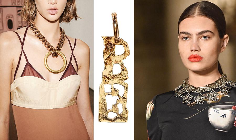 Τα μεγάλα σε όγκο κοσμήματα και ιδιαίτερα από χρυσό είναι μία από τις μεγάλες τάσεις της χρονιάς. Χοντρή αλυσίδα και τεράστιο μενταγιόν, Victoria Beckham // Επιχρυσωμένο μεγάλο παντατίφ, Acne Sturio // Εντυπωσιακό κολιέ, Oscar de la Renta
