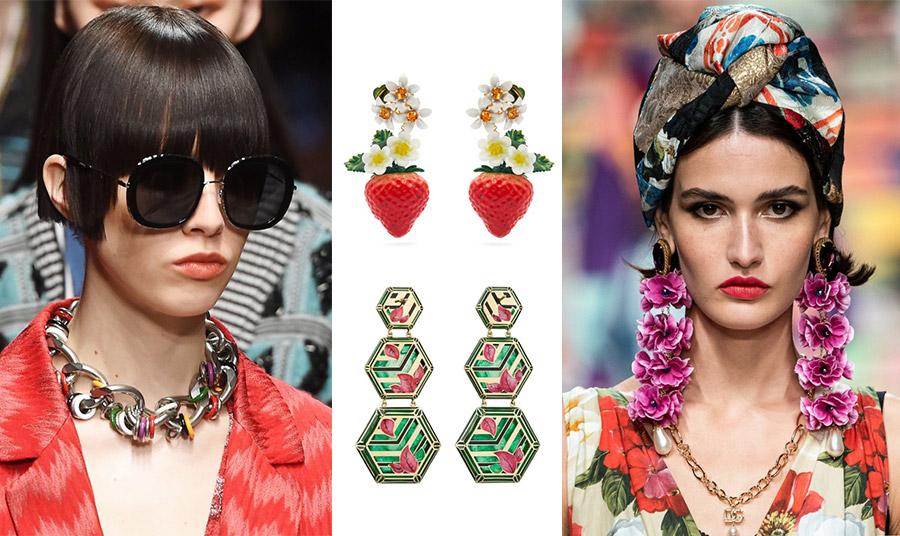 Το χρώμα εισβάλλει και στα κοσμήματα! Αλυσίδα αλλά με χρωματιστές πινελιές, Missoni // Φράουλες και λουλούδια για τα χαριτωμένα σκουλαρίκια, Dolce&Gabbana // Μακριά σκουλαρίκια, Alice Cicollini // Τεράστια λουλούδια για τα μακριά σκουλαρίκια της άνοιξης, Dolce&Gabbana