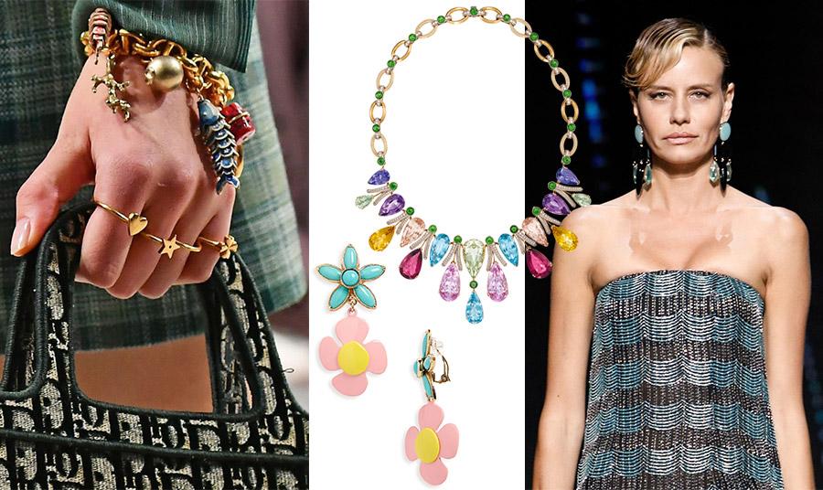 Βραχιόλι από χρυσό και χρώμα, ανοιξιάτικη συλλογή, Dior // Γεμάτο πολύχρωμους λίθους το κολιέ, Dolce&Gabbana // Σκουλαρίκια με χρωματιστά λουλούδια, Saint Laurent // Σε γαλάζιες νότες, τα μεγάλα σκουλαρίκια της άνοιξης, Giorgio Armani