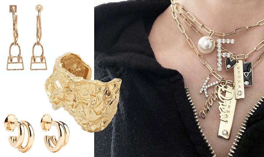 Κρεμαστά σκουλαρίκια που τελειώνουν σε… τσαντάκια, Jacquemus // Τεράστιο βραχιόλι, σαν «τσαλακωμένος» χρυσός, Chloé // Διαχρονικά χρυσά σκουλαρίκια, Pomelatto // Κόσμημα για τον λαιμό, Jeniffer Fisher