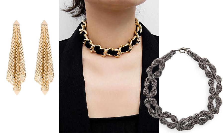 Μακριά σκουλαρίκια, Paco Rabanne // Οι πλεκτές αλυσίδες είναι πολύ της μόδας // Κολιέ από πλεχτή αλυσίδα, Brunello Cuccinelli