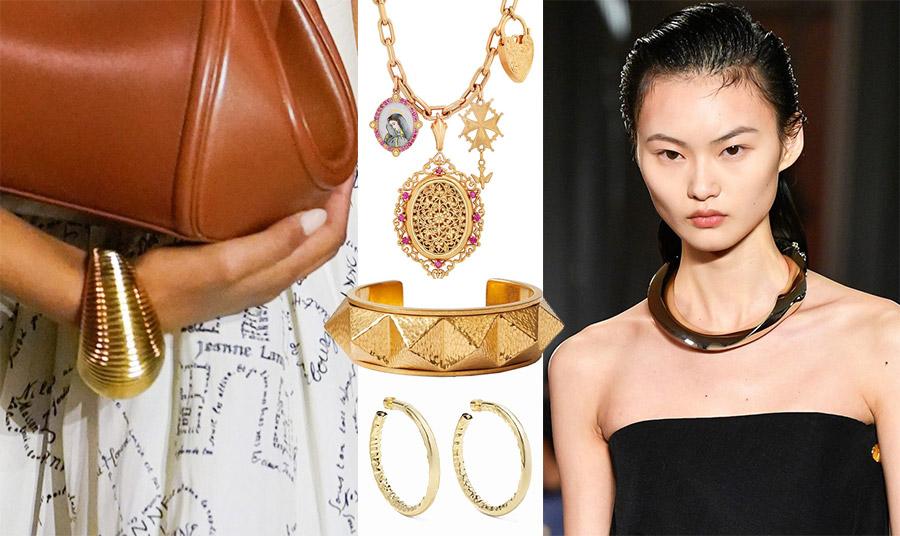 Τα φετινά χρυσά κοσμήματα είναι εντυπωσιακά, ανατρεπτικά, έντονα. Τεράστιο χρυσό βραχιόλι, Lanvin // Έμπνευση από vintage κολιέ, Colette // Σφυρήλατο βραχιόλι, Valentino // Μεγάλοι κρίκοι, Jeniffer Fisher // Κρίκος-κολιέ, Proenza Schouler