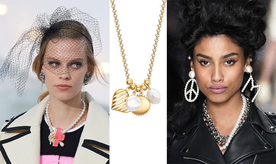 Πέρλες και χρώμα, Chanel // Χρυσό κολιέ με πέρλες, Rondel // Η «ανατρεπτική» ματιά σε σκουλαρίκια με πέρλες,Moschino
