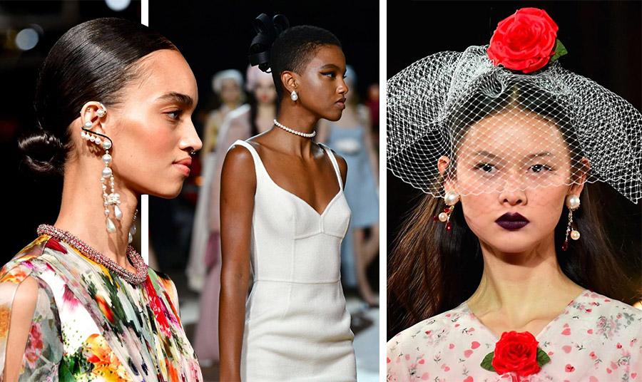 Οι πέρλες στολίζουν κοσμήματα είτε πιο φανταχτερά είτε πιο διακριτικά: Prabal Gurung // Marc Jacobs // Rodarte