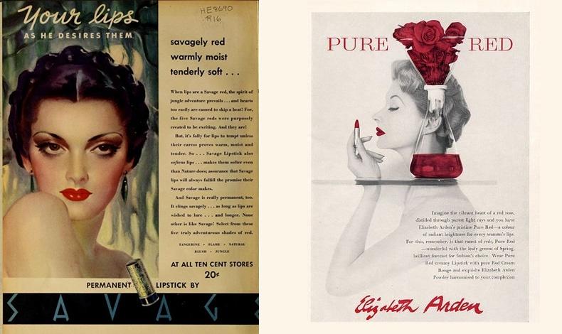 Διαφήμιση της δεκαετίας του '40 με σλόγκαν: «Τα χείλη σας, όπως εκείνος τα επιθυμεί»! // Καθαρό κόκκινο, (1955), από την Elizabeth Arden, μία από τις πρώτες διάσημες μάρκες κραγιόν