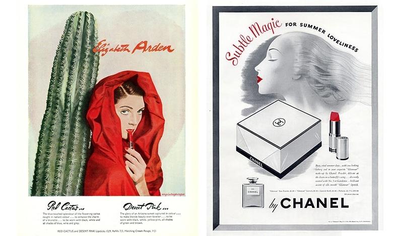 """Διαφήμιση της Elizabeth Arden του 1940, όπου διατείνεται """"Κόκκινος κάκτος... το λαμπερό χρώμα του λουλουδιού του, αναδεικνύει τη γοητεία των καστανών γυναικών και φοριέται με μαύρο, λευκό, μπλε και γκρι!"""" // Την ίδια περίοδο, το 1942, διαφήμιση της Chanel που συνδυάζει το κόκκινο κραγιόν με το άρωμα"""