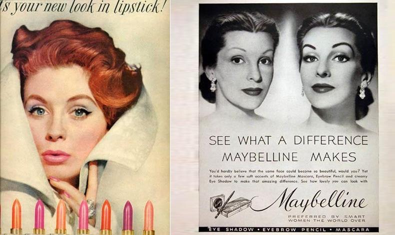 Δύο διαφημίσεις της ίδιας χρονιάς! Το 1952 η Revlon αναφωνεί: «Είναι το New Look του κραγιόν», κάνοντας σύνδεση με το New Look του Christian Dior// Η Maybelline προέτρεπε τις γυναίκες: «Δείτε τι διαφορά κάνει η Μaybelline»