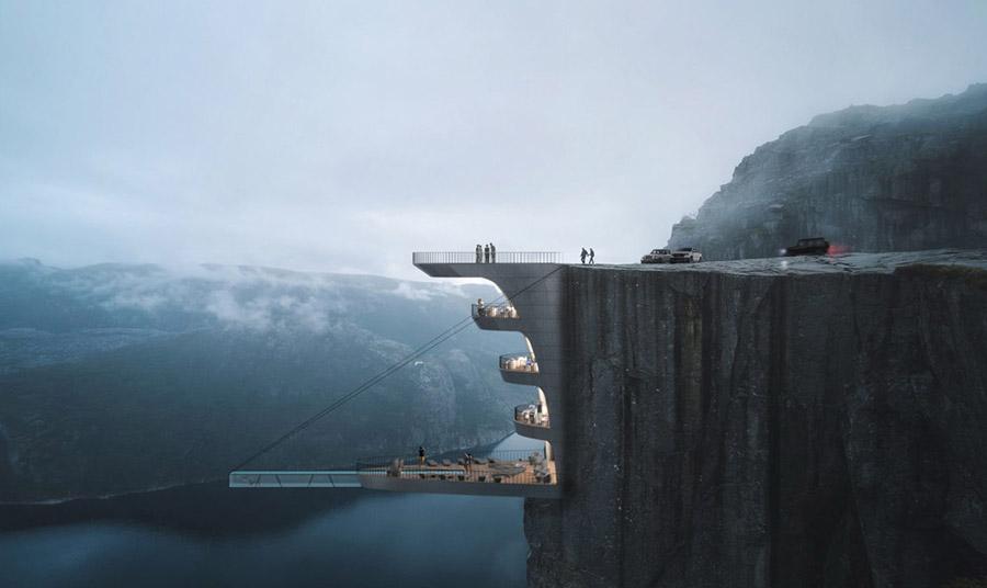 Το σχέδιο ενός αρχιτέκτονα για ξενοδοχείο στο χείλος του γκρεμού στη Νορβηγία
