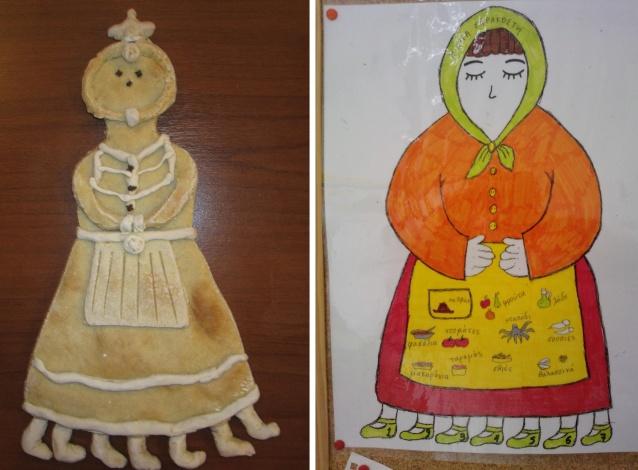 Η Κυρά Σαρακοστή από ζυμάρι αλλά και ζωγραφιά. Κατασκευές από παιδιά του δημοτικού