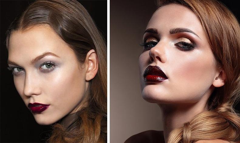 Οι glossy υφές συνδυάζονται με μακιγιάζ πιο ήπιο στα μάτια, ώστε τα χείλη να παίξουν τον πρωταγωνιστικό ρόλο
