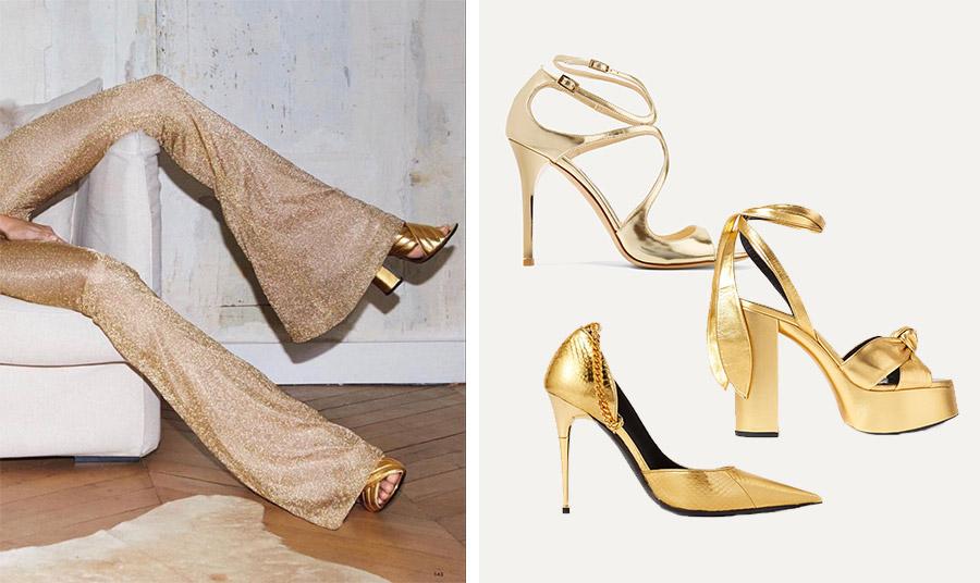 Τα μεταλλιζέ χρυσαφί παπούτσια είναι φέτος πολύ της μόδας. Για την απόλυτη λάμψη, συνδυάστε το με ένα φόρεμα ή παντελόνι στην ίδια απόχρωση από παγιέτες! Στιλέτο πέδιλο, Jimmy Choo // Με τετράγωνο τακούνι-πλατφόρμα και δέσιμο κορδέλα, Saint Laurent // Χρυσή γόβα-στιλέτο με αλυσιδίτσα, Tom Ford