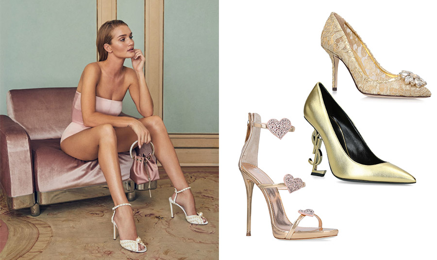 Συνδυάζοντας ένα υπέροχο ζευγάρι παπούτσια ακόμη και με το πιο κλασικό ρούχο, δίνετε έναν άλλο αέρα στην εμφάνισή σας! Γόβα με δαντέλα και αγκράφα ένα λουλούδι από στρας, Dolce&Gabbana // Από μεταλλιζέ δέρμα και περίτεχνο τακούνι με το διάσημο λογότυπο, Saint Laurent // Μεταλλιζέ γυαλιστερό πέδιλο στολισμένο με καρδούλες από στρας, Giuseppe Zanotti