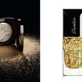 Ανάλαφρη πούδρα που χαρίζει λάμψη στην επιδερμίδα, με χρυσαφιές και ασημί ανταύγειες για το πρόσωπο και το ντεκολτέ, Cam?lia de Plumes, Chanel // Χρυσά φύλλα μέσα στο διάφανο Le Top coat Or, Guerlain