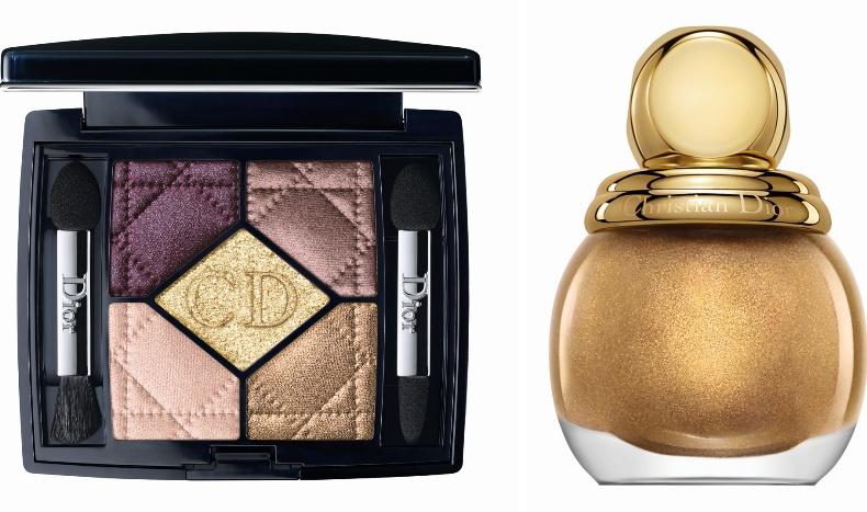 Golden choc, με αποχρώσεις απόι έντονο δαμασκηνί μέχρι χρυσό για αποτελέσμα που λάμπει και βερνίκι νυχιών Gold Equinoxe από την εορταστική συλλογή Dior