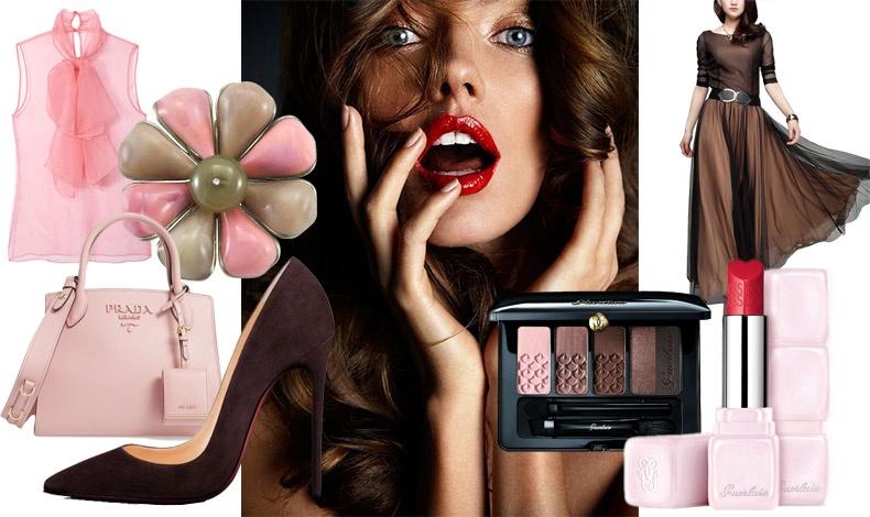 Αθώο ροζ και γοητευτικά σκούρα καφέ... δημιουργούν μία γλυκιά αίσθηση ενός γλυκού με φράουλες βουτηγμένες στη σοκολάτα! Καφέ σκιές στα μάτια από την παλέτα Guerlain και αποχρώσεις του ροζ στα χείλη που συνδυάζονται τέλεια με τα ανάλογα ρούχα και αξεσουάρ για μία αξέχαστη εμφάνιση!