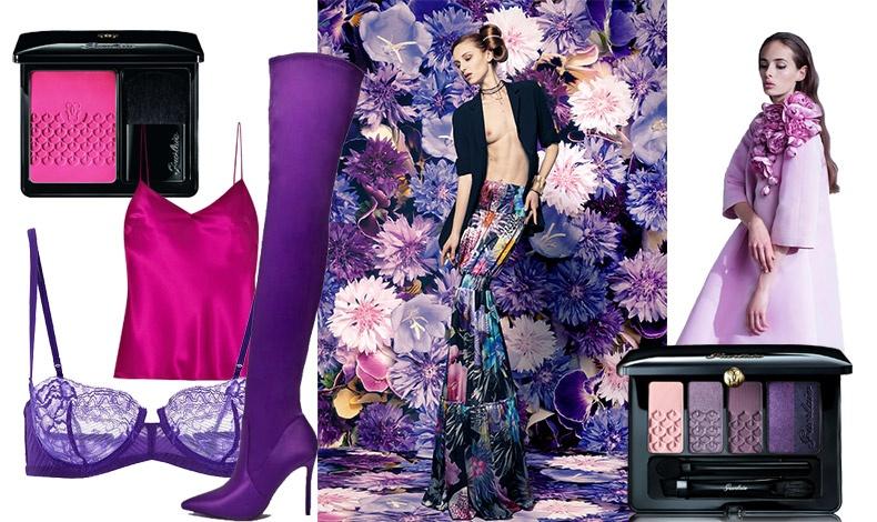 Το μοβ είναι έτσι κι αλλιώς το χρώμα της χρονιάς για το 2018! Ροζ φούξια για να τονίσουμε τα ζυγωματικά, αποχρώσεις του λιλά για βαθύ βλέμμα με την παλέτα Guerlain και ένα λουκ σε αποχρώσεις του μοβ για προκλητική κομψότητα!