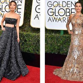 Με δημιουργία Alex Perry, η Jeannie Mai τόνισε τους καλοσχηματισμένους ώμους της // Επικίνδυνα αποκαλυπτικό, το χρυσοκέντητο φόρεμα Zuhair Murad τονίζει τους σμιλευμένους ώμους της Sofia Vergara