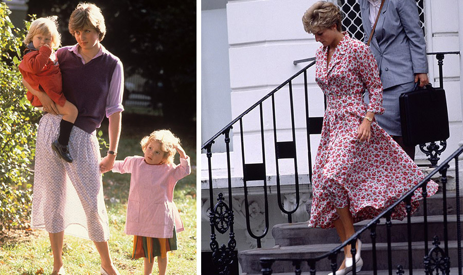 Η πριγκίπισσα Νταϊάνα το 1980, με μια αέρινη Laura Ashley φούστα που διέγραφε τα πόδια της // Η πριγκίπισσα Νταϊάνα με ένα κλασικό φόρεμα του οίκου το 1992 στο Notting Hill