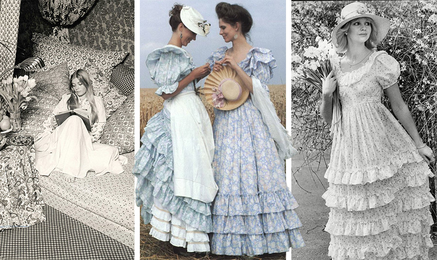 Η ρομαντική διάθεση, η νοσταλγία για τη βικτωριανή εποχή και τα λουλουδάτα μοτίβα στις αρχές της δεκαετίας του '70 κάνουν τη Laura Ashley διάσημη