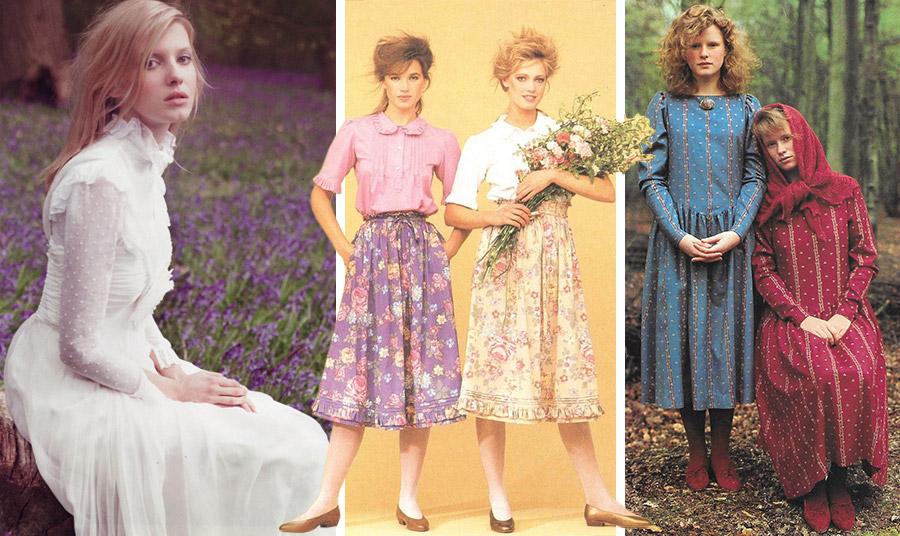 Χαρακτηριστικά ρούχα της Laura Ashley από τη δεκαετία του '80. Λευκό ρομαντικό φόρεμα σε ένα λιβάδι από λεβάντες, 1981 // Φλοράλ φούστες και λεπτά πουκάμισα με μικρά στρογγυλά γιακαδάκια, 1981 // Από τον κατάλογο του 1983