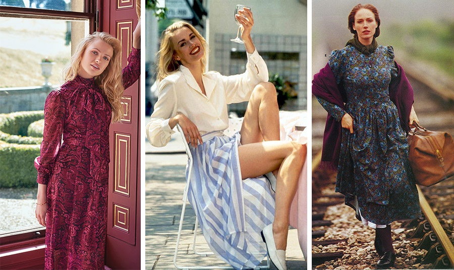 Το στιλ της εταιρείας το 1990 // Από τη συλλογή του 1992 με μακριά ριγέ φούστα και μεταξωτό πουκάμισο // Από τον κατάλογο της συλλογής χειμώνας 1993