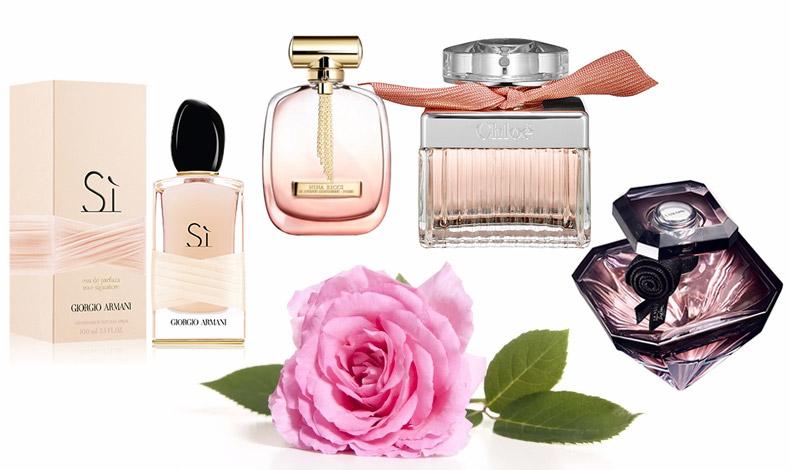 Aρώματα που συνεχίζουν την παράδοση της λατρείας με το τριαντάφυλλο: Si, Giorgio Armani, από την απόλυτη συμφωνία ανάμεσα στο Μαγιάτικο Τριαντάφυλλο και το Δαμασκηνό Τριαντάφυλλο // To τριαντάφυλλο Βουλγαρίας ξυπνά τον αισθησιασμό μας στο L' Extase Caresse de Roses, Nina Ricci // Για τις ρομαντικές, ένα άρωμα που αναδύει ευωδιά φρεσκοκομμένων τριαντάφυλλων, Roses de Chloé // Η σαγηνευτική ευωδιά από το Δαμασκηνό τριαντάφυλλο σε ένα άρωμα-κόσμημα, Lancôme La Nuit Trésor Eau de Parfum