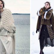 Διαφορετικές υφές στα πουλόβερ αλλά στην ίδια απαλή γκάμα χρωμάτων // Ένα μακρύ αέρινο φόρεμα με πουλόβερ, σουέντ τζάκετ και μεγάλος γούνινος γιακάς για ένα χιονισμένο... τοπίο