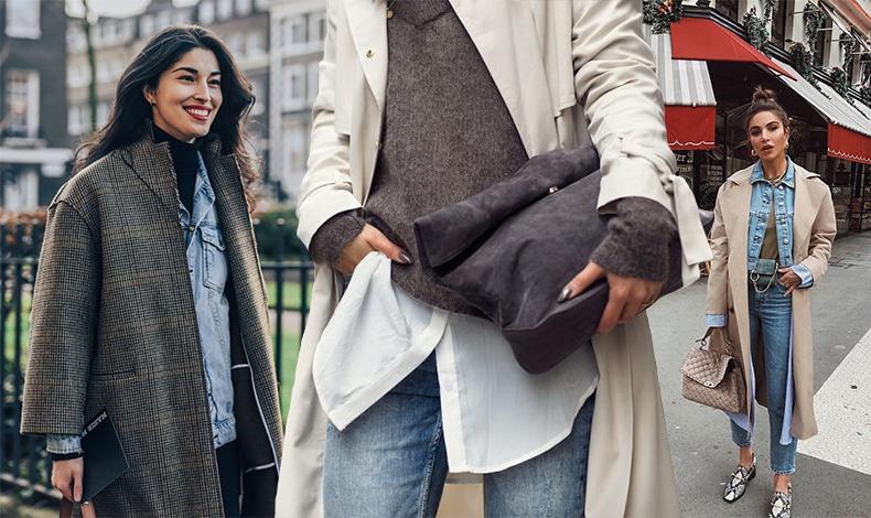 Η απλότητα του layering για καθημερινές στιγμές όπως με ένα μαύρο ζιβάγκο, τζιν πουκάμισο και ένα καρό παλτό // Ένα φαρδύ λευκό πουκάμισο και από πάνω ένα χοντρό πουλόβερ με γκαμπαρντίνα // Τζιν σακάκι και μακρύ παλτό με ένα στενό τζιν