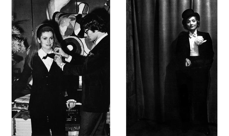 Η Catherine Deneuve και ο Yves Saint Laurent σε πρόβα το 1966 // Η Marlene Dietrich με ημίψηλο και σμόκιν