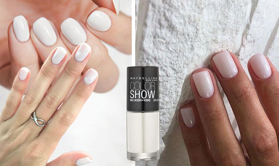 Τα κοντά νύχια είναι της μόδας και το λευκό βερνίκι τα κολακεύει. Δοκιμάστε το νέο λευκό βερνίκι, Maybelline