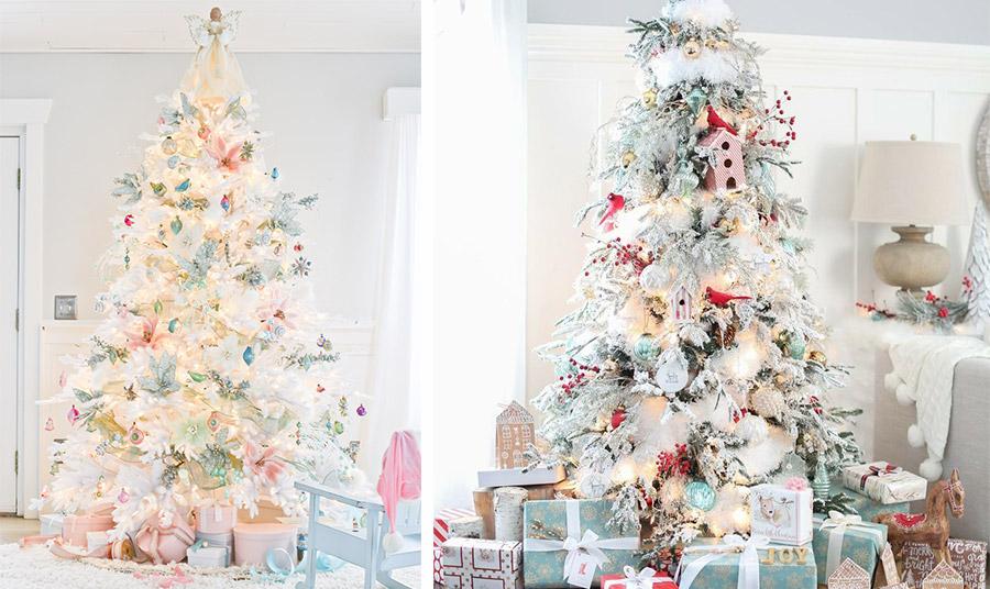 Νεράιδες, φτερά και λεπτεπίλεπτα στολίδια σε παστέλ ροζ και γαλάζια δημιουργούν ένα «παραμυθένιο» ντεκόρ // Δέντρο που μοιάζει χιονισμένο, με μπάλες που ημιδιάφανες, πινελιές χρυσού και κόκκινου και δημιουργούν ένα εντυπωσιακό αποτέλεσμα