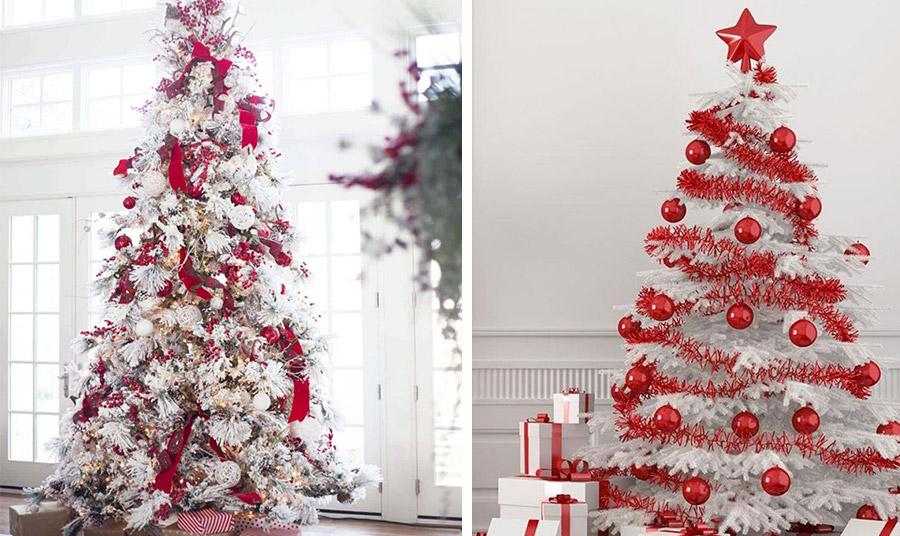 Τολμηρό, ζωηρό και αστραφτερό! Ένα λευκό δέντρο με κόκκινα στολίδια ή αποκλειστικά με κόκκινες γυαλιστερές μπάλες και γιρλάντες επιβάλλεται στον χώρο με την παρουσία του!