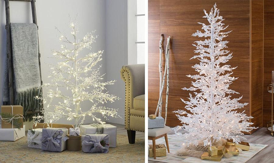 Μίνιμαλ λευκά δέντρά μόνο με κλαδιά που λαμπυρίζουν