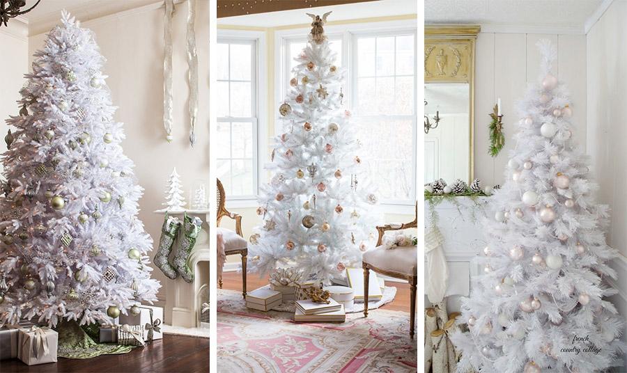 Σε ένα λευκό δέντρο, δώστε τη νότα του πράσινου με παστέλ βεραμάν ή λαδί στολίδια και χρησιμοποιήστε τον ίδιο τόνο και στα άλλα διακοσμητικά του ντεκόρ // Ροζ-χρυσό για ένα λευκό δέντρο που αποπνέει αβίαστη κομψότητα // Παστέλ αποχρώσεις ροζ και μοβ σε συνδυασμό με λευκές ματ υφές στολίζουν διακριτικά