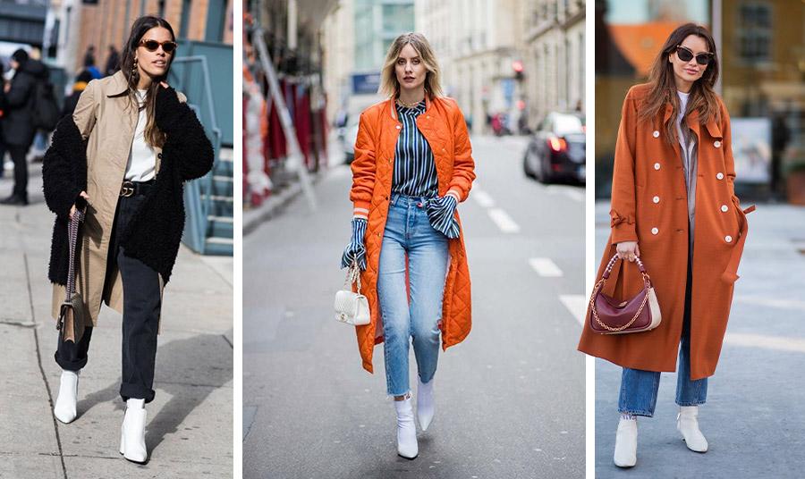 Ακόμη κι αν φοράτε συνεχώς το τζιν σας, οι λευκές μπότες ταιριάζουν πολύ. Με ένα εντυπωσιακό παλτό και μάλιστα με χρώμα κάνει τη διαφορά