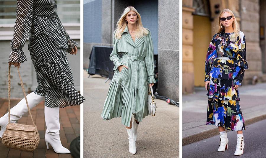 Εναλλακτικό και trendy στιλ μαζί με ένα άκρως φορέσιμο χαρακτήρα. Οι λευκές μπότες συμπληρώνουν ιδανικά κάθε είδους φόρεμα