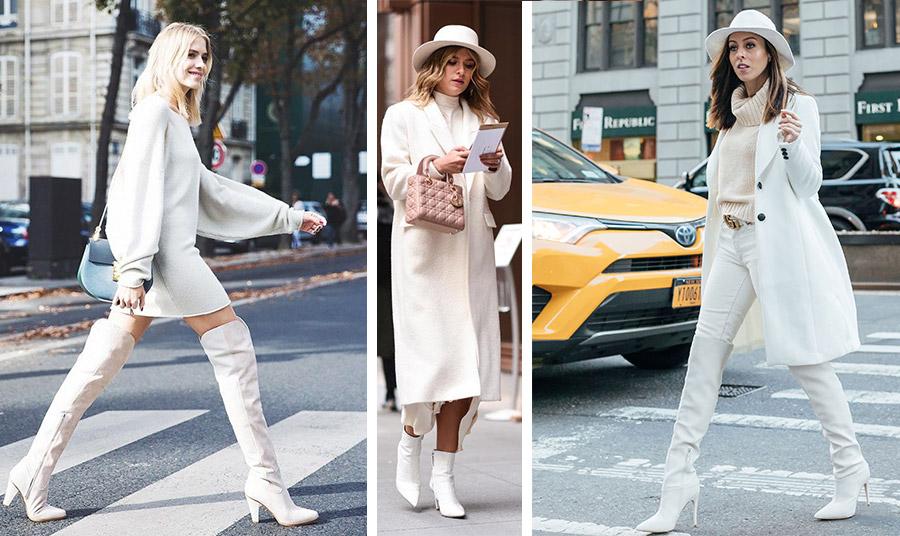 Οι λευκές μπότες ισορροπούν ιδανικά σε ένα total λευκό λουκ. Με ένα μίνι φόρεμα, με το παλτό σας ή με ένα λευκό παντελόνι, το αποτέλεσμα είναι υπέροχο