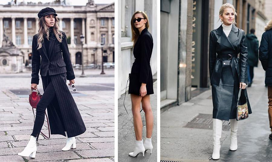 Οι λευκές μπότες δίνουν έναν έξτρα αέρα κομψότητας με μαύρα ρούχα. Η αντίθεση του λευκού με το μαύρο είναι ενδιαφέρουσα