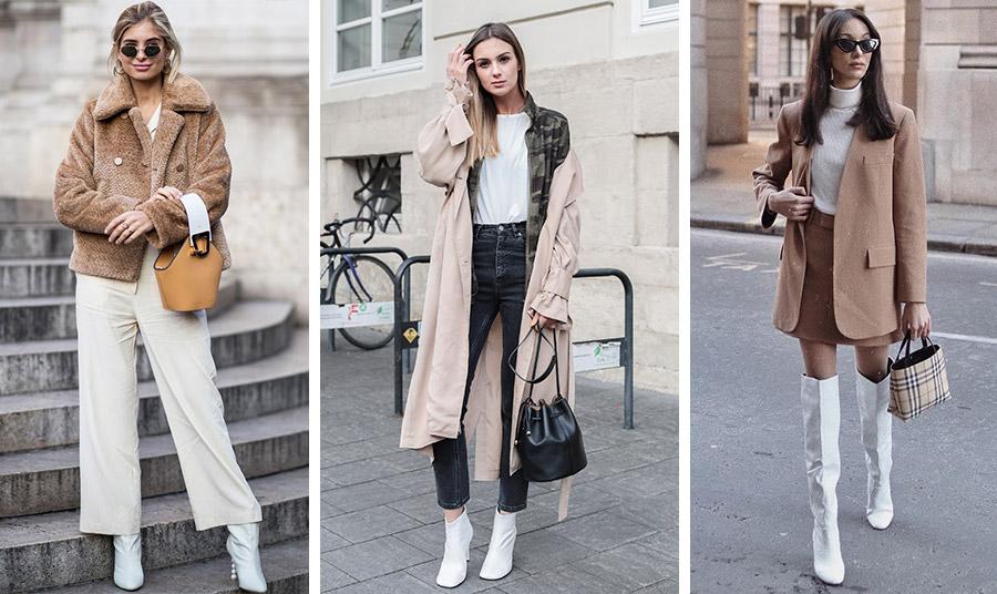 Οι λευκές μπότες είναι εξαιρετική επιλογή για τις ενδιάμεσες εποχές, όπως το φθινόπωρο και η άνοιξη. Φορέστε τις με άλλες γήινες αποχρώσεις και έχετε το τέλειο ύφος