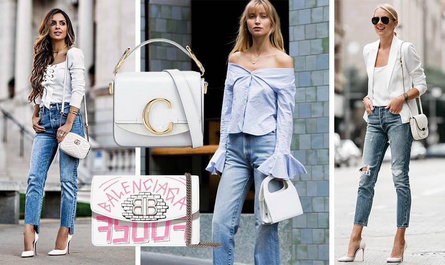 Συνδυάστε το τζιν παντελόνι σας με ένα λευκό τοπ ή πουκάμισο ή με γαλάζιες αποχρώσεις και πηγαίνετε… παντού! Λευκή τσάντα σε τετράγωνο μικρό σχήμα, Chloé // Λευκή τσάντα με ροζ γκράφιτι, Balenciaga